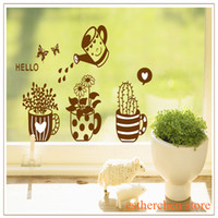 Wholesale New Style cm Potted Wall Sticker Living Room Removable Design Plant And Flower Decals For Window