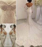 Wholesale 2016 Full Lace Mermaid Berta Wedding Dresses Plus Size Trumpet Arabic Pearls Chapel Train Sexy Back Vestido De Novia with Lace Long Gloves