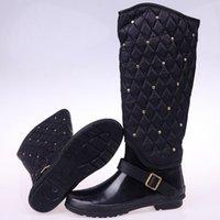 rubber boots - Fashion personality rivet plus velvet warm winter rain bootschildren folding water shoes Tall boots rubber boots