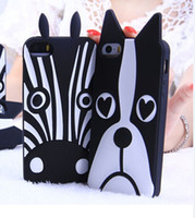 For Samsung apples zebra - Cartoon Zebra Dog design Cell phone silicone soft back cover skin For iphone S SE S Plus