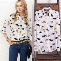 Cheap 2015 Fashion Womens Summer Tops Women Blouse Shirt Chiffon Plus Size Chiffon Full Sleeves Lips Stars Leopard Print