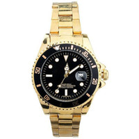 Wholesale HOT Rol Man Golden Stainless Steel Band Men Quartz Luxury Wrist Watches with Black Red Dial Date Display Fashion Watch