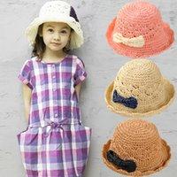 kids sun hats - children hats caps summer top quality fashion handmade woven straw hat sun hat kids girls princess Large brimmed bow visor cap colors
