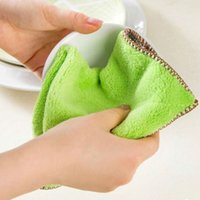 Wholesale 28x28cm Hand Washing Cleaning Cloth Bamboo Fiber Kitchen Clean Towels Bowl Wipping Cloth Dishcloth