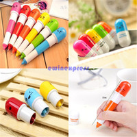 Wholesale Novelty Cute Smiling Face Pill Ball Point Pen Telescopic Vitamin Capsule Shade Ballpen for School Use
