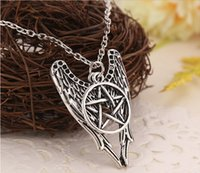 wicca - Antique Silver Necklace Supernatural Pentagram Necklace Castiel Wings Angel Wicca US SELLER Jewelry New Arrival DHL Free
