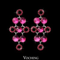 Wholesale 5 Colors Crystal Earrings Gold White Plated Fashion Dangle Chandelier Earrings for Women Ve Vocheng Jewelry