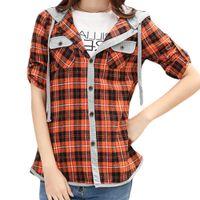 al por mayor mujeres camiseta de la tela escocesa-S5Q Mujeres Classic Lady manga larga Cheques Casual Plaid Sudaderas Camisas Top Blusa AAAEXD