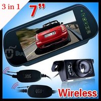 Wholesale 3 in Wireless Car Rear View Kit quot LCD Mirror Monitor IR Reversing Camera Wireless Receiver Modules order lt no track