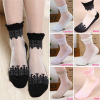 women socks - New Arrivals Women Lady Girls Short Socks Hosiery Cotton Crystal Silk Lace Ultrathin Transparent Elastic Lovely Fashion PX92