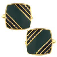 Wholesale 2015 new Mens Classic New Golden Plated Enamel Green Stripe Square Formal Business Wedding Cufflinks CK104