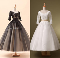 Lace-up ball gown prom dresses - 2015 Prom Dress Evening Formal Gown Dresses Under In Stock Real Sample Lace Tulle Half Sleeves Black White Ball Gown Lace Up SD036