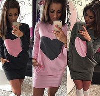 clothes europe - Europe New Arrival Women Clothing girls Heart Print Dress Winter Warm Cotton Bodycon Long Sleeve DressesMini Dresses