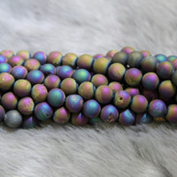 agate gemstone necklace - 10mm Strand Titanium Rainbow Druzy Agate Beads Natural Gemstone Crystal Quartz Druzy Agate Necklace Pendant Jewelry Make Connector