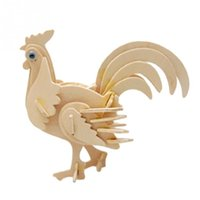 Wholesale New DIY D Three dimensional Wooden Animal Cock Style Jigsaw Puzzle Toys for Children Kid Handmade Wood P0637