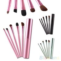 Wholesale 5 Pro Makeup Eyeshadow Brushes Set Cosmetic Tools Metal Holder K3H