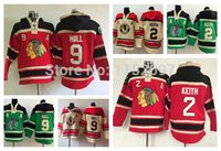 Wholesale 2014 Chicago Blackhawks Duncan Keith Hoody Red Green Beige Bobby Hull Old Time Hooded Ice Hockey Pullover Sweatshirt