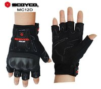 Wholesale SCOYCO MC12D motorcycle half finger gloves racing cycling Polyester fabric is protection shell guantes moto