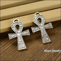 ancient egyptian charms - 40 Charms Ancient Egyptian Symbol Of Life Ankh Amulet cross Pendant Tibetan silver DIY Metal Jewelry Findings