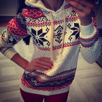 Wholesale 2015 Women Hoody Spring Autumn Sportwear Snowflake Printed flower Fleece French Terry Sweatshirt Women long sleeve Hoodies