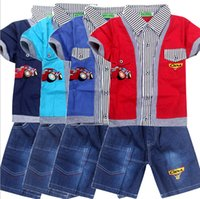 Wholesale Children s clothing short sleeve fake car cartoon boy short sleeved shirt jeans three piece suit A012 suit