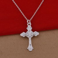 large cross jewelry - 925 sterling silver necklace Korean version of the popular lace cross necklace jewelry trade large spot