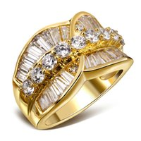 Wholesale L Y New Romantic Deluxe CZ Wedding Rings for Women s K Real Gold Rectangle Round Shape Cubic Zirconia Bridal Wedding Jewelries