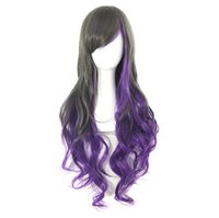 Wholesale Ladies Stylish Charming Purple Wigs Long curly Hair with Bang Synthetic Sexy Wig Womens Fashion Full Wig Party Beautiful Wigs