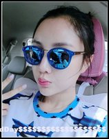 bi sun - The new sunglasses lady tiger mother cat dad star Bi Shengnan with sun glasses and color film reflective circular frame
