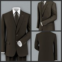 Wholesale Real Image Dark Brown Side Slit Two Buttons Formal Dress Gentlemen Suits Prom Suits Business Wear Tailored Jacket Pants GT111922