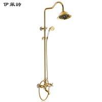 Wholesale Eli Poems golden copper bathtub faucet shower suite single double shower faucet taken off the water