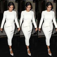 Cheap Hot kim kardashian bandage dresses short white prom dress 2014 crew long sleeve tea length sheath cheap formal party gowns free shipping