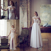 Cheap Retro High Neck Lace Long Sleeves Wedding Dresses with Detachable Skirt Train Actual Image Front Split Sheer Bridal Gowns with Pocket