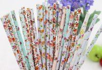 flower paper straws - 100PCS FLOWER DRINKING PAPER STRAWS VINTAGE RETRO WEDDING BABY PARTY DECORATION