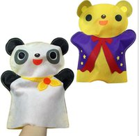 bear toy story - Baby listen story toys Cartoon animal Panda and bear Non woven fabric hand toys Puppets a little dirty