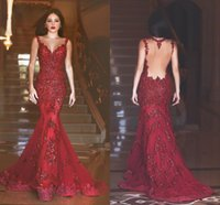 Wholesale 2016 New Evening Dresses Said Mhamad Backless Mermaid Long Prom Gowns Sequins Sweetheart Neck Floor Length Lace Tulle MH039