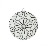 ab polymer clay - Dorabeads Polymer Clay Charm Pendants Round White Flower Pattern AB Color Rhinestone cm x cm quot x1 quot