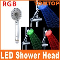 Wholesale Adjustable Mode LED c Sprinkler Temperature Sensor RGB Color Ducha Rain Showers Heads Base Power Hotels Douche Set Rainfall