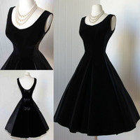 audrey hepburn prom dress - Audrey Hepburn Vintage Little Black Dresses Customized Fashion Scoop Tea Length Satin Prom Ball Gowns Bow For Cocktail Evening Parties