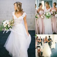 affordable bridal - Bohemian A Line Wedding Dresses Affordable Lace Short Cap Sleeve V Neck Open Backless White Ivory Tulle Beach Garden Rustic Bridal Go