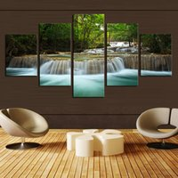 art waterfalls - 5p modern home art wall hd picture canvas print study living room decoration theme waterfall no framed