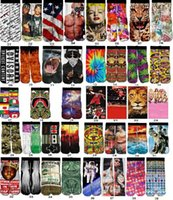 thermal socks - 60 pairs Cotton Skateboard socks colorful thermal knee high socks stocking Harajuku d printed picture socks basketball men s socks