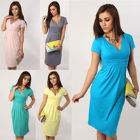 Wholesale 2015 NEWWomen Summer Dresses Sexy V neck Elasitc Fold Pure Color Pregnant Casual Dresses Color Clothing For Pregnant