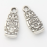 antique dolls - 200pcs Antique Silver Russian Dolls Charms Pendants Jewelry DIY x7 mm L1142 Hot sell Findings Components