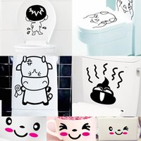 Cheap Removable Wall Sticke Decals Smiling Face Cup Stickers DIY Cartoon Funny Toilet Decorating Wallpaper Home Decoration Paper
