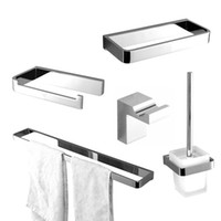 Wholesale 2015 Luxurious Solid Brass robe hook toilet paper holder towel rack Bath hardware set