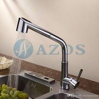Wholesale AZOS Kitchen Sink Faucets Contemporary Swivel Hose Shower Head Pull Out Down Spray Chrome Polished Copper Deck Mount Waterfall Mixers
