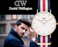 alloy hot toppings - hot selling dw watch Top Brand Daniel Welington mm men Luxury style rose Gold dial case watches Nylon Strap montre femme de marque