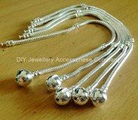 Link, Chain snake bracelet - 10pcs ball snap clasps Mixed Size Silver Bracelet European Style Bead Fit pandora mm Snake Chains Bracelet inch
