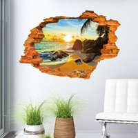 Wholesale Creative Sunshine Beach D Wall Stickers For Kids Rooms x90cm PVC Papel De Parede Adesivo Infantil Wall Stickers Home Decor